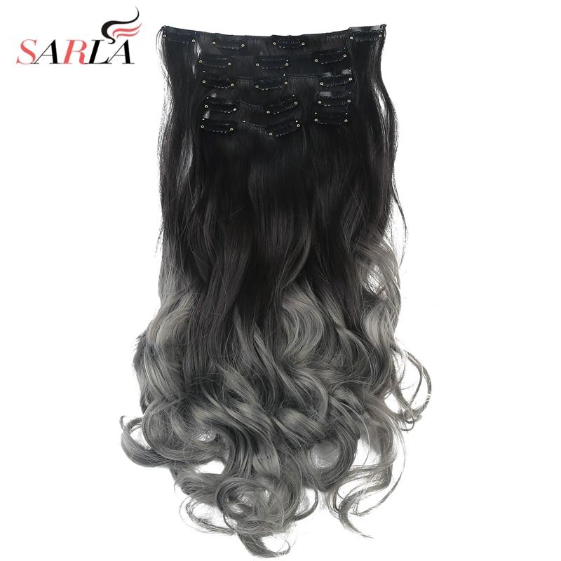 Sarla 20 7pcs Long Full Head Natural Curly Clip In Hair Extensions