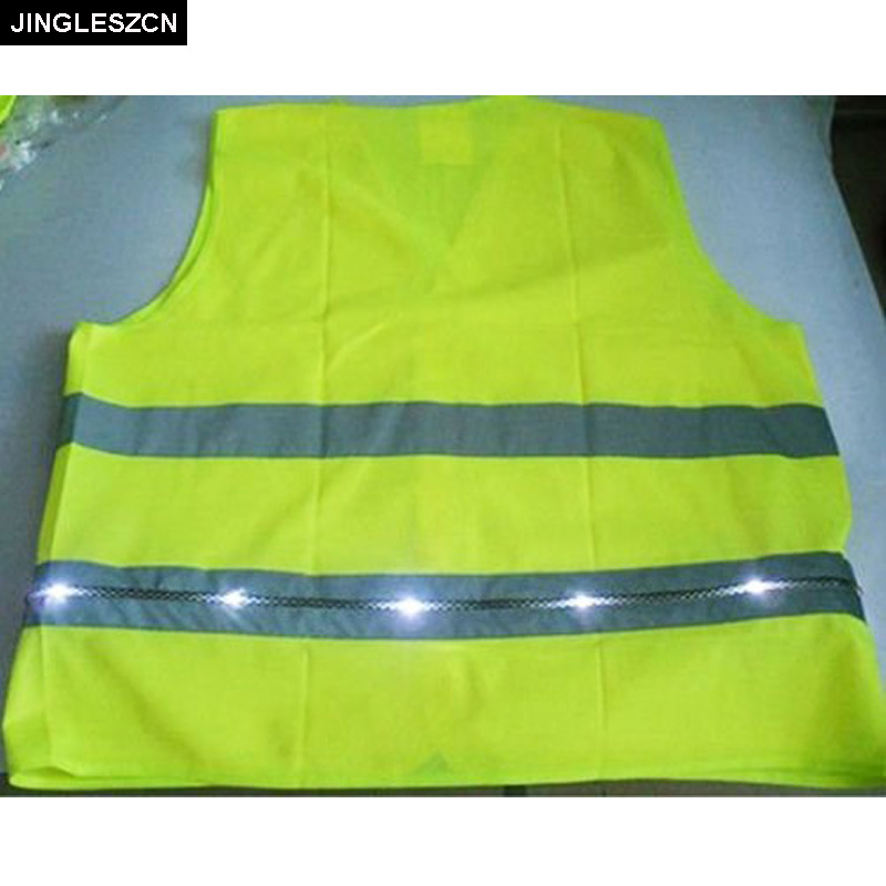 JINGLESZCN Security Reflective Safety Vest Jacket With LED For Traffic Safety and 2 Flashing Functions Lights Outdoor Clothes