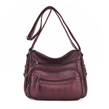 Fashion Female PU Leather Shoulder Bag Solid Color Multi-layer Crossbody Bags Easy to Manage manage