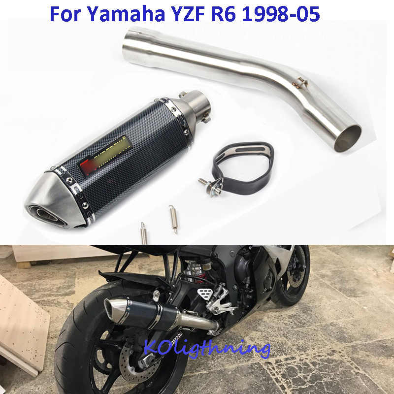 Slip on YZF R6 Motorcycle Exhaust System Muffler Slip on Midpipe Connect Link Tube Full Exhaust System for Yamaha YZF R6 1998-05