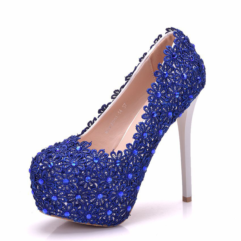 952f0bcea777 Royal Blue Lace Women Pumps 5 Inches High Heel Platform Shoes ...