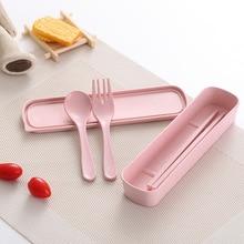 GZZT Spoon Fork Chopsticks Bamboo Fiber Portable Tableware Children Lunch Box Set Healthy Baby Kids