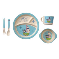 5pcs/set Cartoon Pattern Nature Bamboo Fiber Tableware Set Kid's Round Plate Set Children Bamboo Fiber Dinnerware