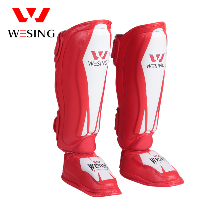 Wesing MMA Leather Shin Instep Guard Leg Pads Protective Gear Muay Thai Boxing Kickboxing Training wesing aiba approved boxing gloves 12oz competition mma training muay thai kickboxing sanda boxer gloves red blue