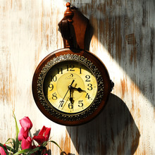 Household Decor Double Mute Clock Mediterranean-Style Retro Wood Round Wall Decoration Hanging Clock