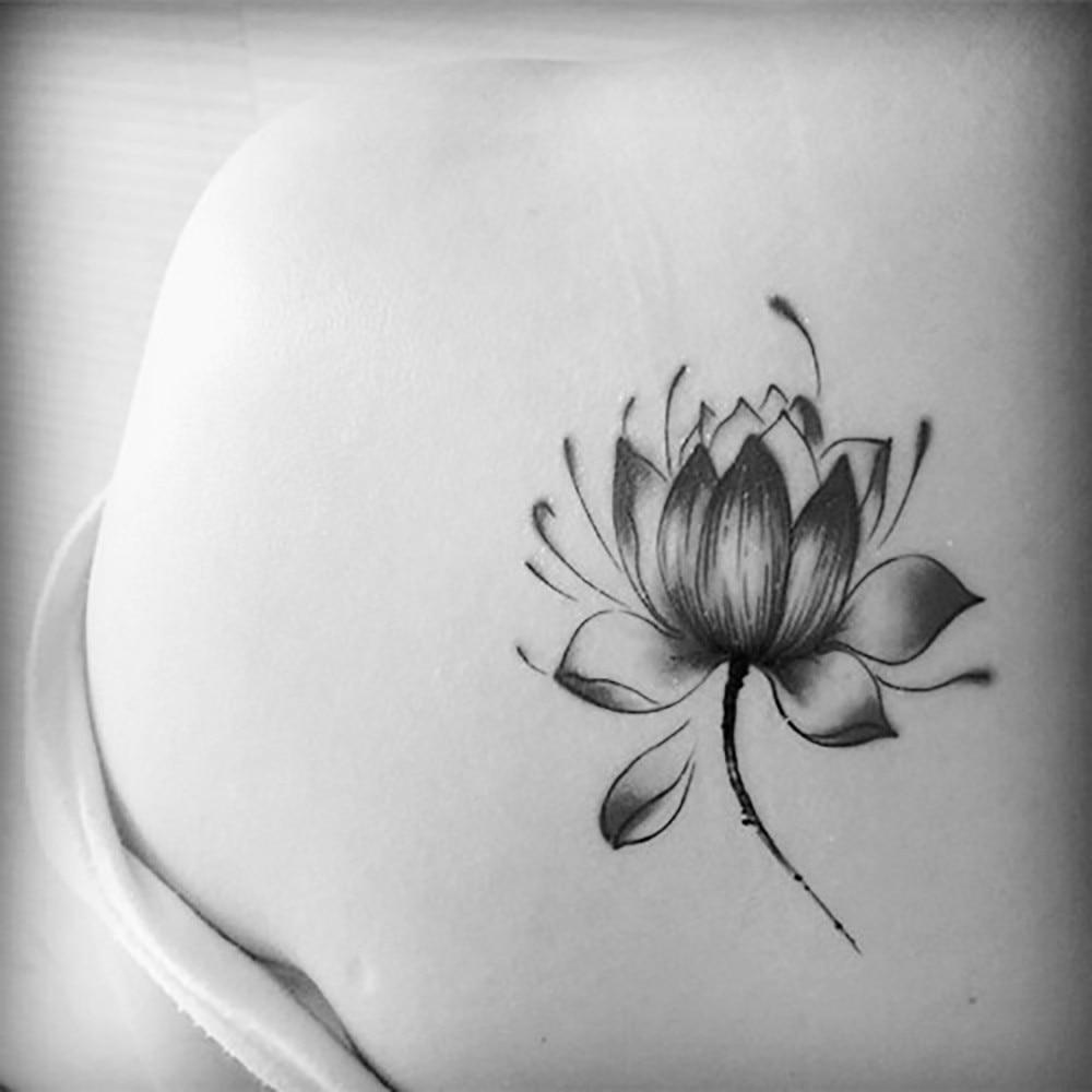 Black waterproof lotus flower stickers women lotus flower tattoo body art impermeabile tatuaggi temporanei per gli uomini e le donne bella 3d lotus flower design izmirmasajfo