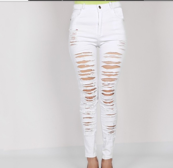 QA871 New stylish stratified hole ripped jeans women skinny black white high waist jeans denim pants