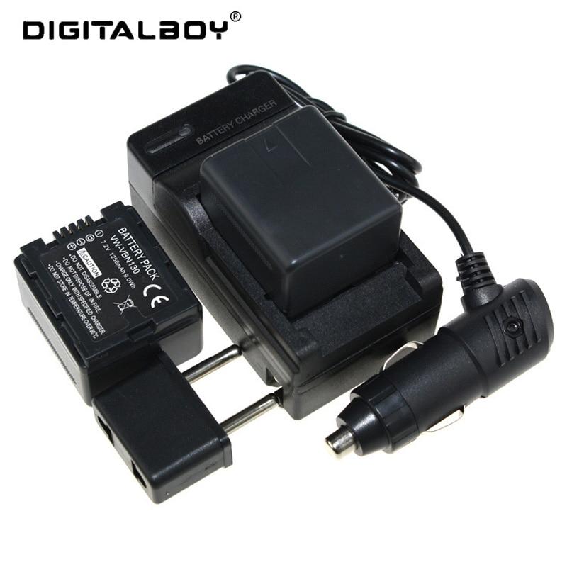 (5PCS/Set )2 * VW-VBN130 VW VBN130 VWVBN130 Battery+Battery Charger+car charger For Panasonic HDC-SD900 HDC-SD900K HDC-SD800