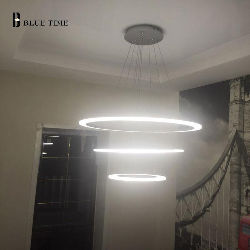 Modern Chandelier acrylic Ring LED Lamp Hanging Light Fixtures Adjustable living room bedroom home illumination chandeliers