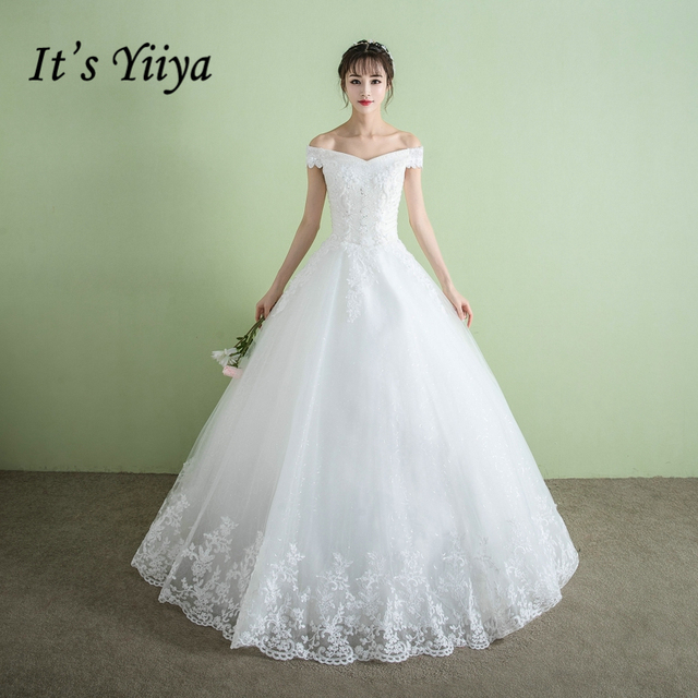 Es ist YiiYa Off White Beliebte Ärmel Boot ausschnitt Hochzeit Kleid ...