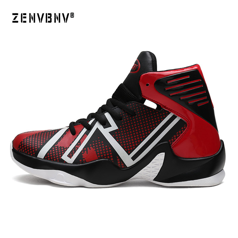 Zenvbnv New High Top Basketball Sneakers Men Size 39-46 Authentic Basketball Shoe Leather Black Red Basketball Shoes Trainers