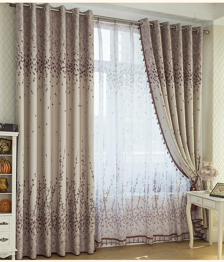 Free shipping blackout curtains printing rustic restaurant for Modele rideau salon moderne