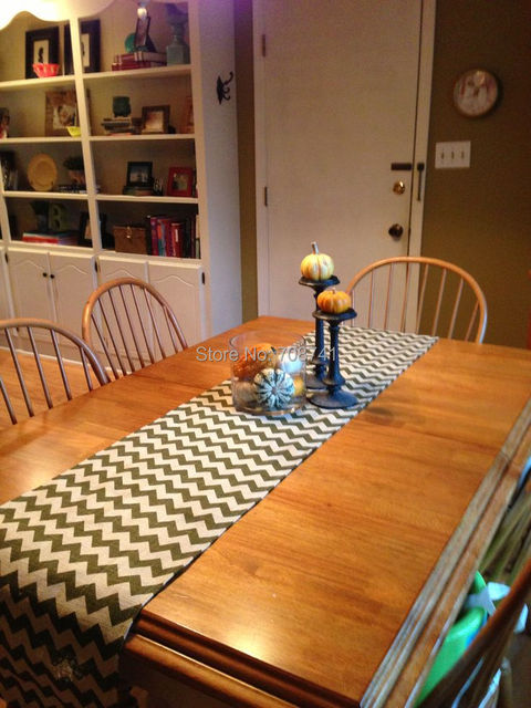 Free Shipping Burlap Table Runner With BLACK CHEVRON Printing - Custom dining room table runners