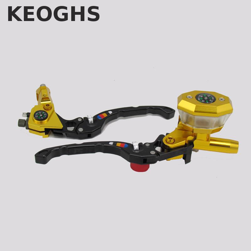 Keoghs Motorcycle Brake Master Cylinder And Brake Clutch Lever Compass Decoration 22mm Universal For Honda Yamaha Scooter keoghs real adelin 260mm floating brake disc high quality for yamaha scooter cygnus modify
