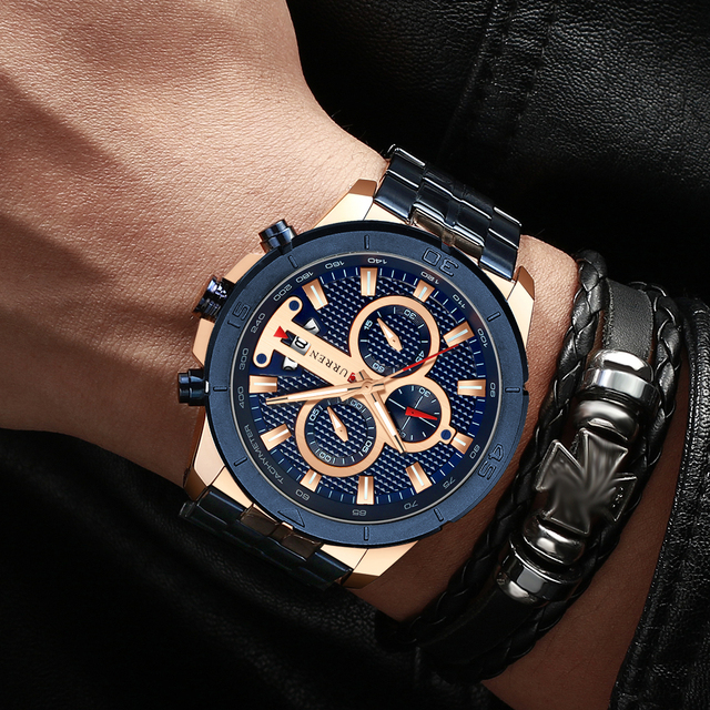 CURREN Men's Luxury Brand Business Steel Casual Waterproof Male Chronograph Auto Date Quartz Watches 5