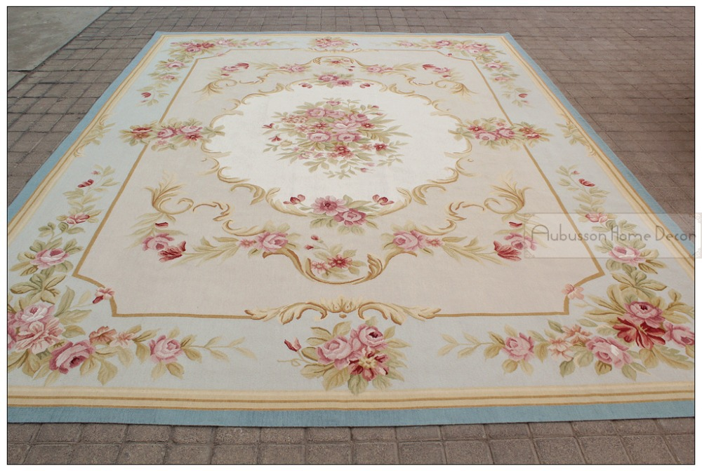 9 X12 Aubusson Area Rug Blue W Chic Pink Roses Fine