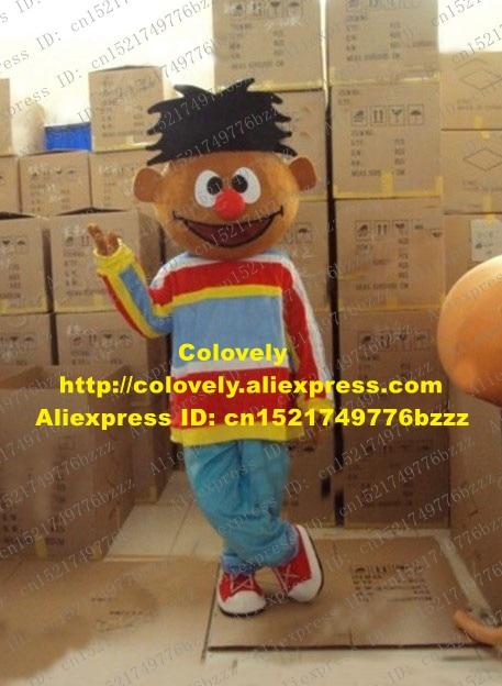 US $191 9 5% OFF|Aliexpress com : Buy Smart Brown Little Boy Ernie Mascot  Costume Mascotte Lad Spadger Sesame Street With Colorful Shirt Blue Pants