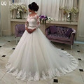 QQ Lover 2017 Hot Sale Sweet Angel Beaded A Line Long Sleeve Lace Wedding Dress Vestido De Noiva Robe De Mariage Bride Dress