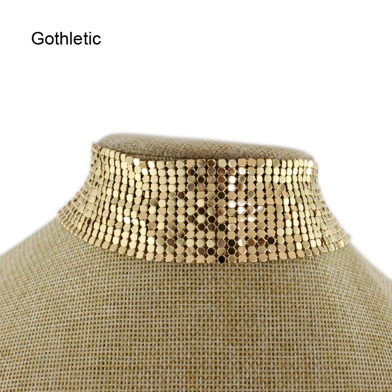Gothletic Metallic Mesh Chainmail Metal Choker Luxury Paillette Collar Exaggerated Fluid Oculence Necklace Womens Jewelry
