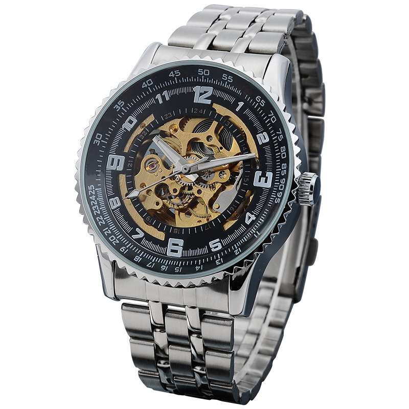 SHENHUA Male Clock Geared Case Automatic Mechanical Skeleton Men's Wrist Watch Stainless Steel Band Relogios Masculino shenhua brand black dial skeleton mechanical watch stainless steel strap male fashion clock automatic self wind wrist watches