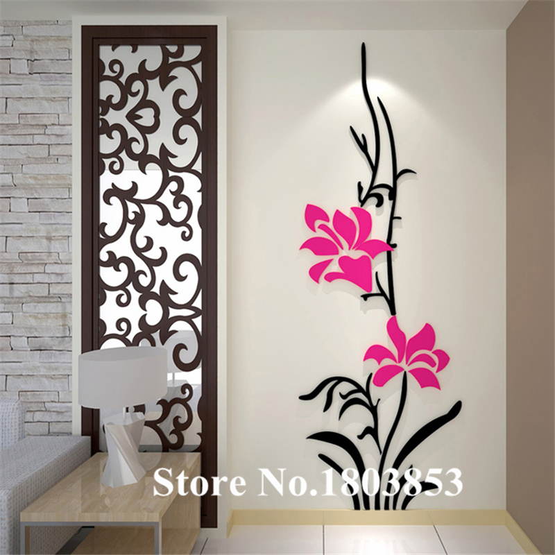 wall stickers for bedrooms ヾ(^▽^)ノNew Diy 3D stereo acrylic crystal wall stickers bedroom  wall stickers for bedrooms