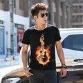 Hombres camiseta de Algodón Más El Tamaño Tee Shirt Homme Verano de Manga Corta hombres Camisetas Hombre Camisetas Camiseta 3D camiseta Impresa Guitarra