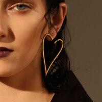 Enfashion Jewelry Geometric Big Heart Earrings Gold Color Stainless Steel Long Drop Earrings For Women Earings