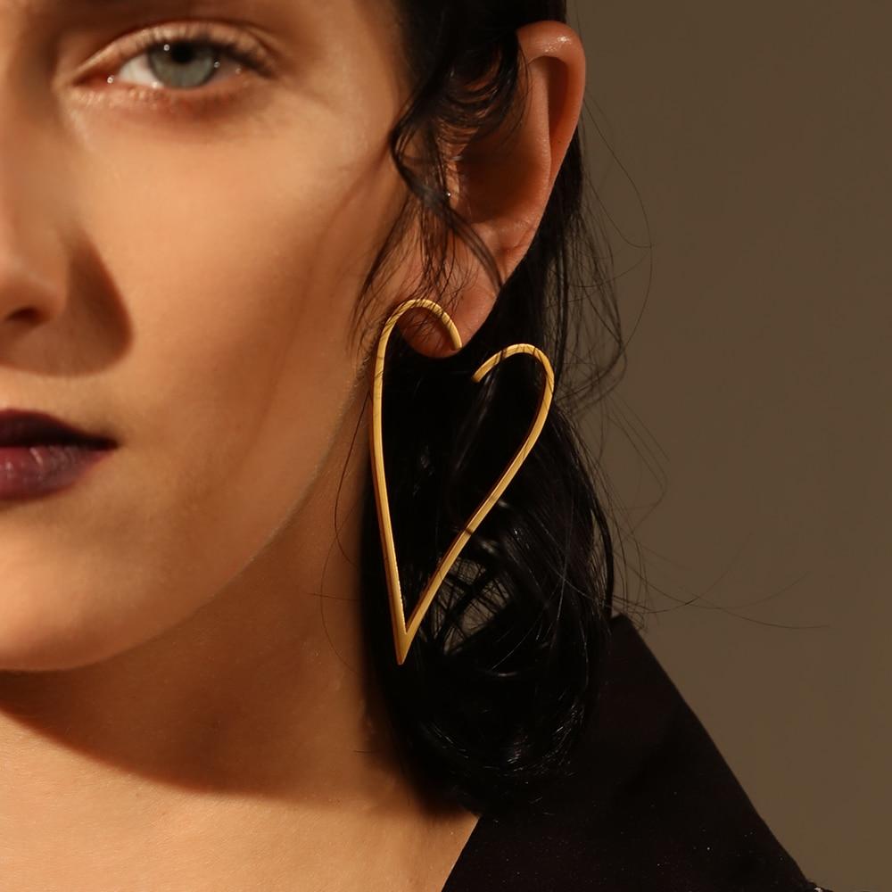 Enfashion Jewelry Geometric Big Heart Earrings Gold color Stainless steel Long Drop Earrings For Women Earings EB171037