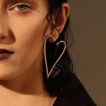 Enfashion Jewelry Geometric Big Heart Earrings Gold color Stainless steel Long Drop Earrings For Women Earings EB171037 - DISCOUNT ITEM  30% OFF All Category