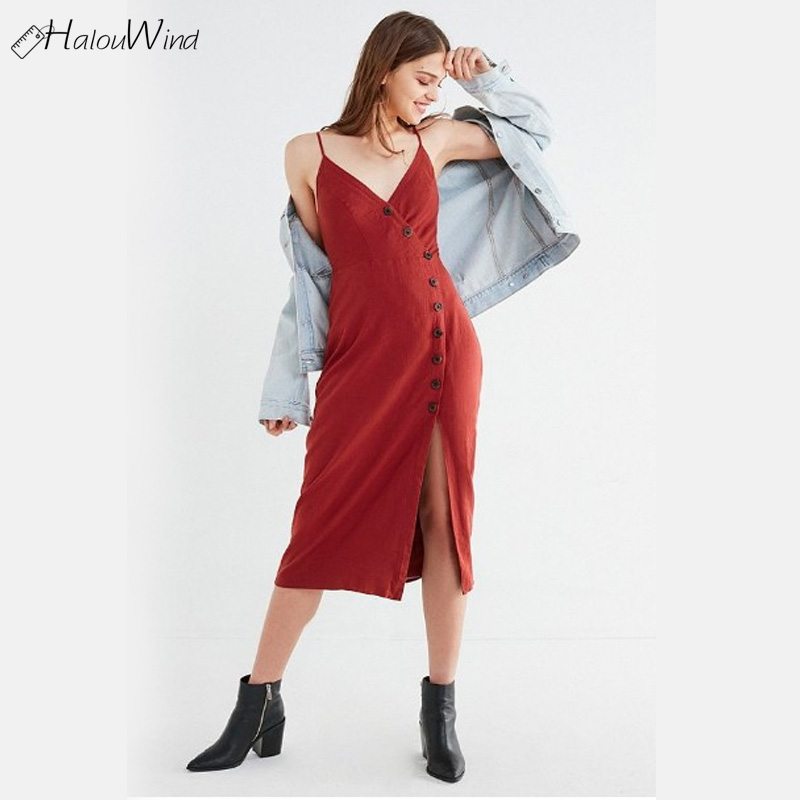 Sexy Button Sleeveless Summer Wrap Dress Long Boho Beach Spaghetti Strap Women Sundress Vestidos Party Casual Backless Dess 2018