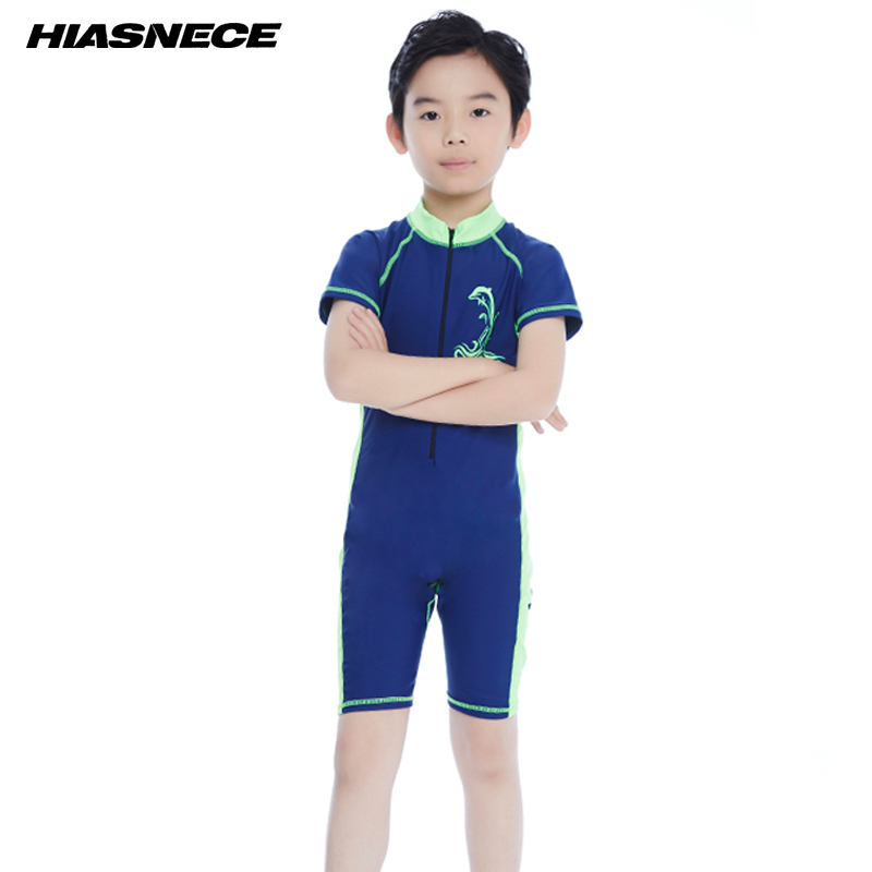 Kids one piece sport swimming suit for boys solid patchwork training competition swimwear 2018 new child beach bathing suit 5-12