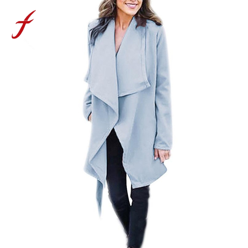 FEITONG Women Coat Jacket Thicker Female Autumn Winter Fashion Open Solid Long Outwear