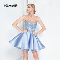 5d3b89a3cd4a8 Sexy Sweetheart Off The Shoulder Sky Blue Satin Homecoming Dresses 2019  Beading Crystals Backless Graduation Dress