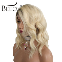 Women #4/613 Lace Front Human Hair Wigs Short Blonde Lace Frontal Wig 180 Density Ombre Color Glueless Wavy Peruvian Remy Hair