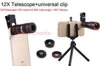 12x Zoom Telephoto Lens mobile phone camera Lens& Fish eye Lens&Wide Angle Macro Lenses Cell Phone Tripod