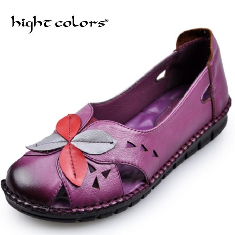 Summer Autumn Fashion Flower Design Round Toe Mix Color Flat Shoes Vintage Genuine Leather Women Flats Girl Loafer