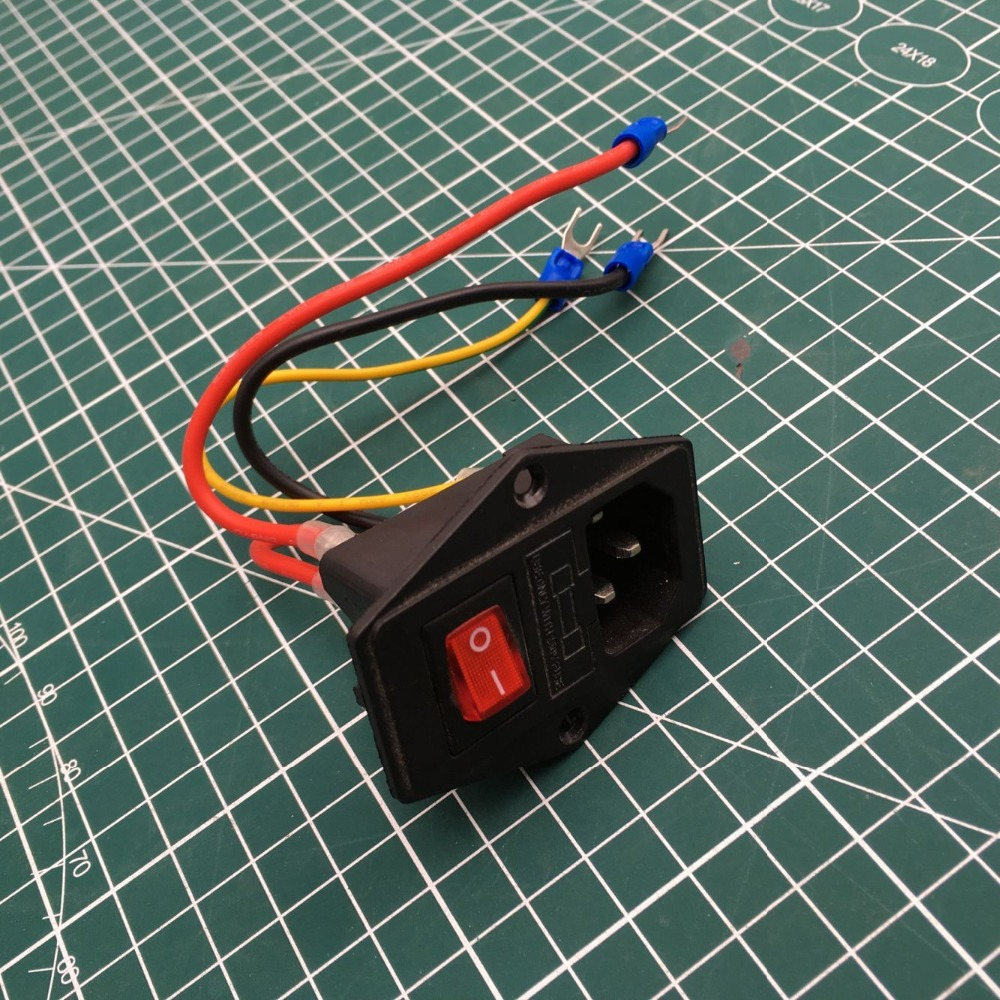 high quality Prusa i3 Ender 3/3S 3D Printer Parts <font><b>220V</b></font>/110V <font><b>10A</b></font> Power Supply Switch Male Socket with <font><b>Fuse</b></font> 200C silicone wire image