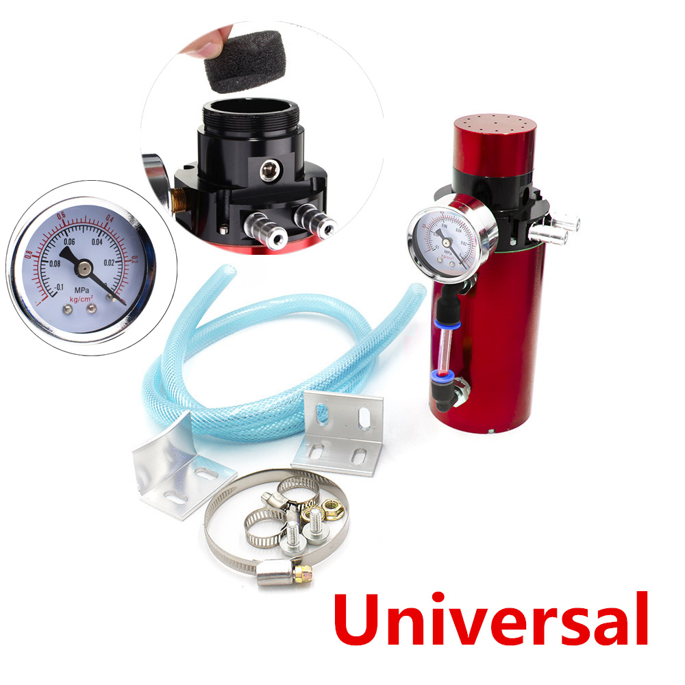Vacuum Pressure Gauge Engine Oil Reservoir Catch Can Tank Kit Breather Filter