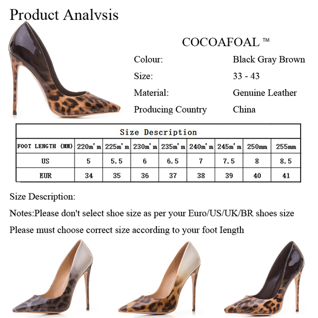 COCOAFOAL Woman Leopard Pumps Plus Size 33 - 43 Fashion Sexy Stiletto Party Wedding Pumps Autumn 12 CM Ultra High Heels Shoes 5