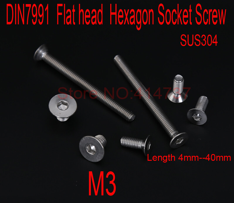 DIN7991 Stainless Steel A2  M3*L Flat head  Hexagon Hex Socket Screws countersunk Cap Screw  Length 4mm--40mm 2pc din912 m10 x 16 20 25 30 35 40 45 50 55 60 65 screw stainless steel a2 hexagon hex socket head cap screws