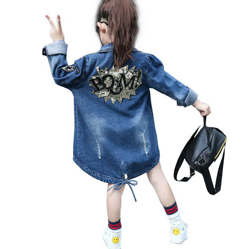 2018 Denim Jackets For Girls Long Coats Girls Trench Spring Outerwear For Girls Windbreaker Kids Clothes Children Clothing 4-14T denim jackets for girls outerwear long sleeve letter girls trench coats spring autumn girls tops windbreaker 3 5 7 9 11 12 years