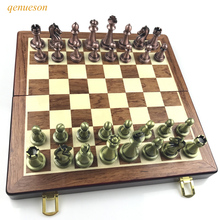 Classic Zinc Alloy Chess Pieces wood grain Board Chess Games Set With King Height 6.7 cm Outdoor leisure Game High Quality Chess