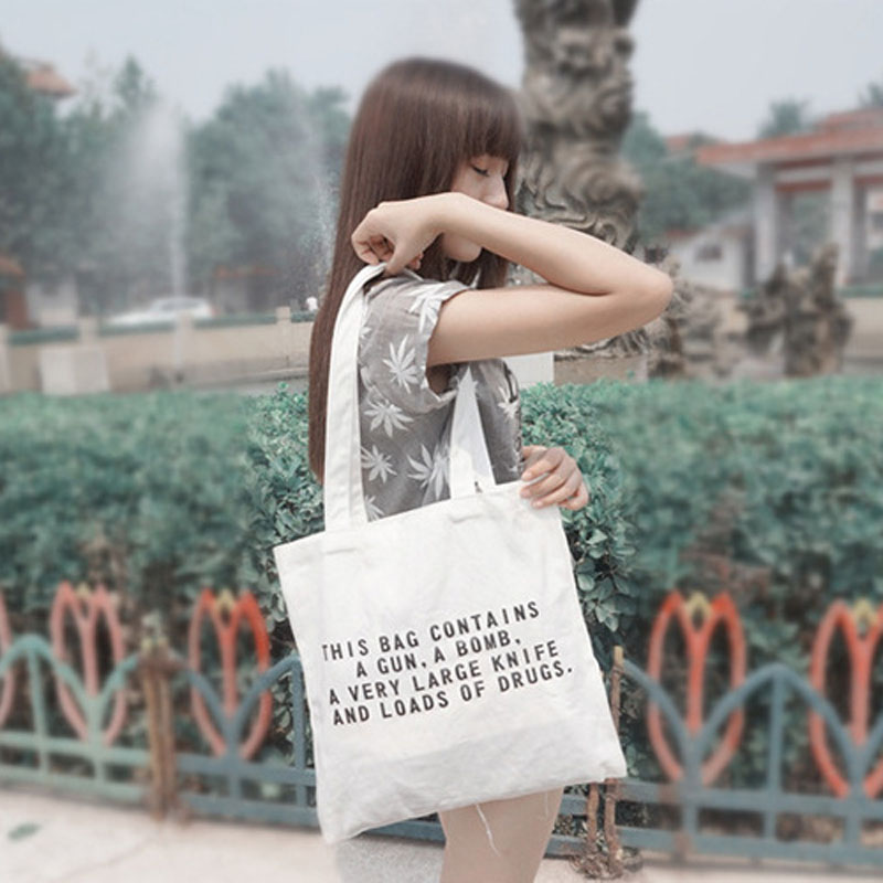 Functional Bags 12-ounce Pure Cotton Canvas Bag Heavy Duty Shopping Bags Women Shoulder Bag Handmade Letters Travel School Books Trip Tote Bag The Latest Fashion