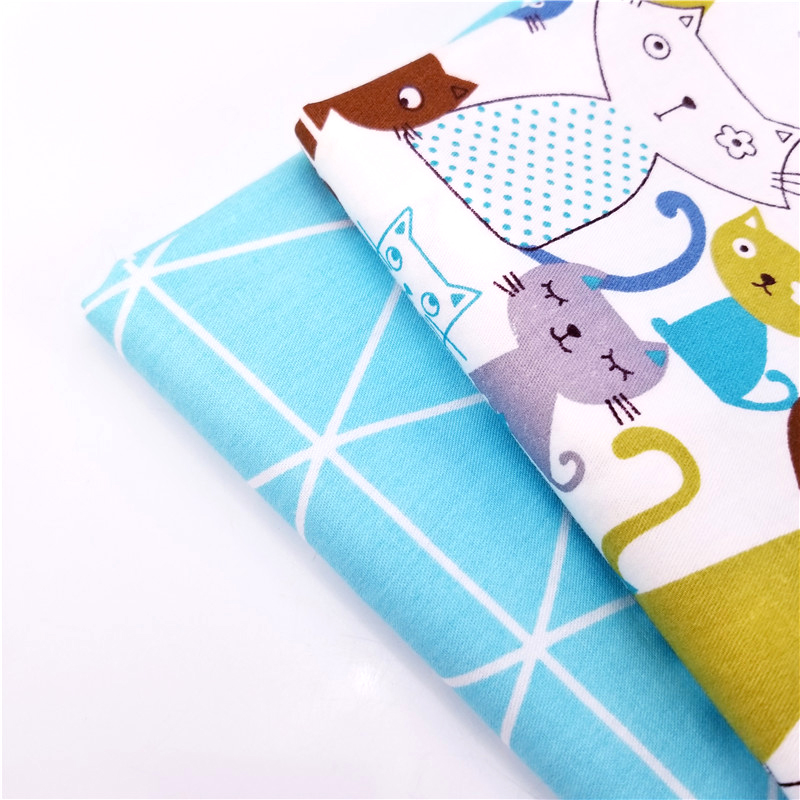 Childish Style Cat Printed Cotton Twill Patchwork Fabric DIY Sewing Quilting Handmade Material For Home Textile