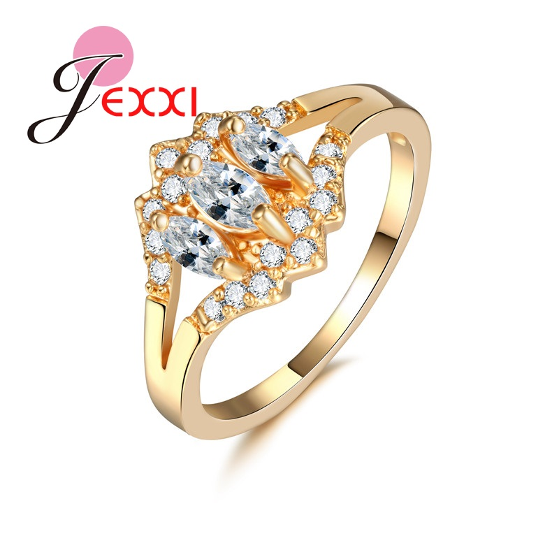 PATICO Classic Yellow Gold Color Women Rings Jewelry Accessary With High Quality Rhinestone Ring For Engagement New Arrival
