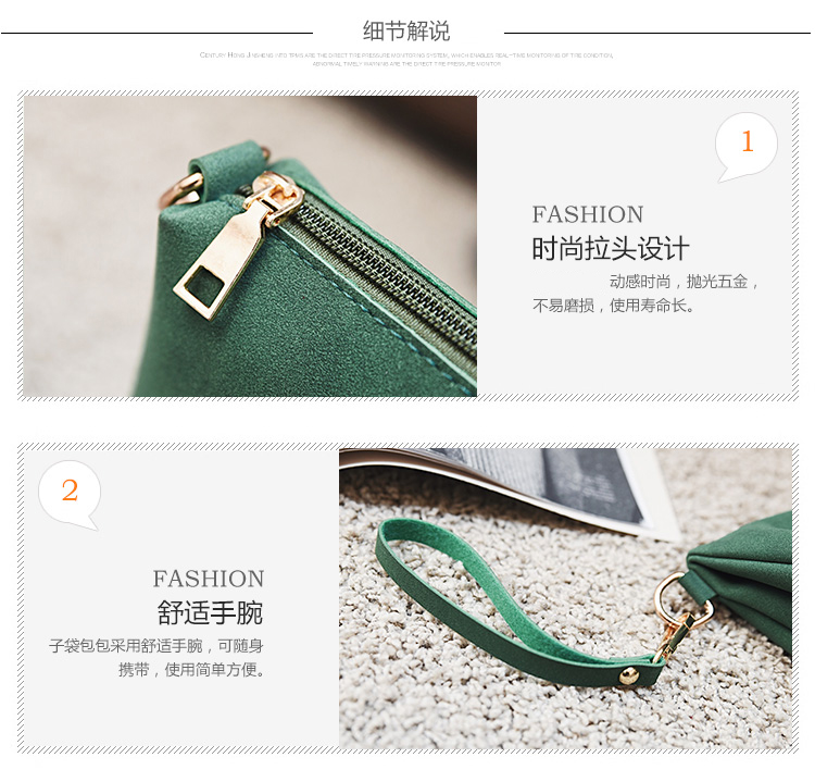 Casual Women Tote Bag 2 Pcs Set Folding Envelope Clutches Faux Suede Shoulder Bag Lady Hand Bag Black Red Shopper Handbag Purses 17