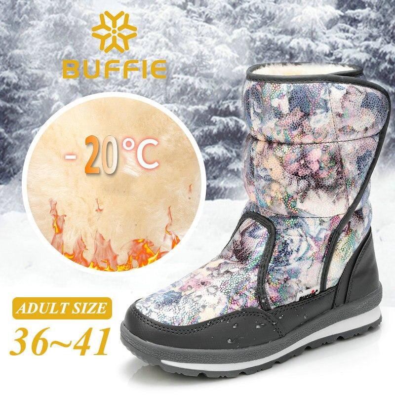 2018 нові жінки сніг чоботи зима теплі чоботи сірий колір квітка завантаження проти ковзання назовні плюшеві хутро плюс розмір безкоштовна доставка гарячі продати  t