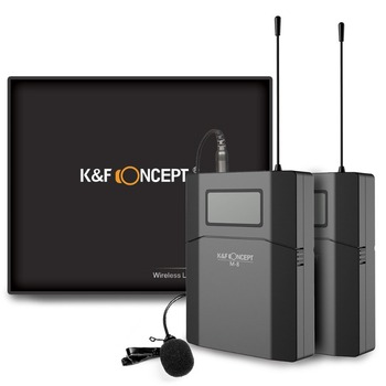 K&F CONCEPT 70M Camera Microfono Wireless Microphone Mic Lavalier Receiver +Transmitter Record Radio Low Noise DSLR Microfone
