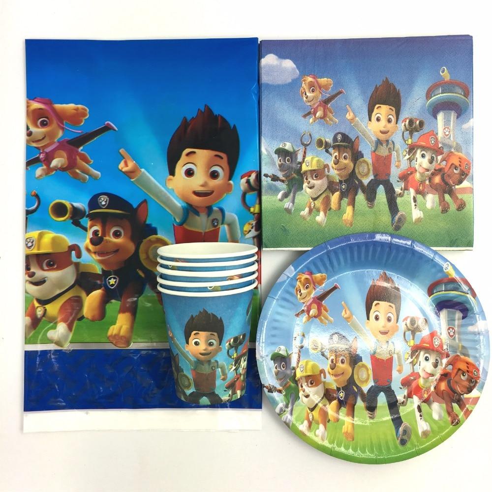 62pcs Cartoon dogs theme kids boys birthday <font><b>party</b></font> paper plate cake dishes 20pcs napkins+20pcs <font><b>cups</b></font>+20pcs plates+2pcs tablecovers