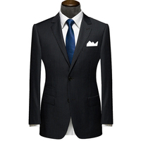 New Bespoke Mens Suits Classic Terno Slim Black Navy Striped Mens Custom Made Suits Wedding Groom Tuxedos 2 Pieces Jacket+Pants